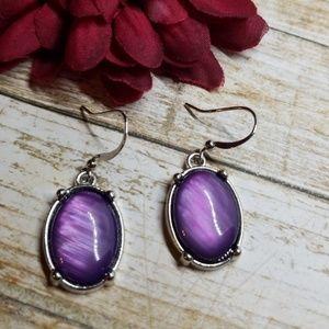 E2558 Silver & Purple Stone Drop Earrings